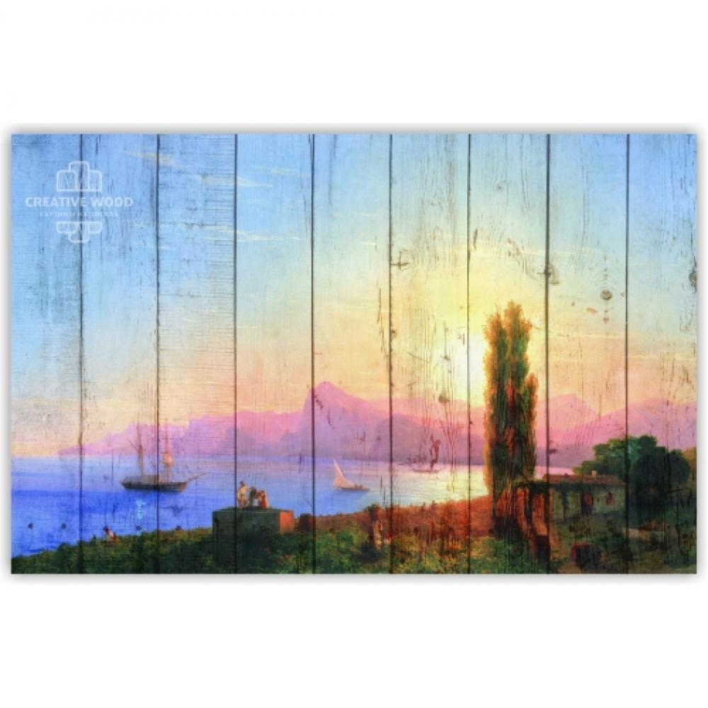 """Picture on the boards """"Sunset at sea - I. Aivazovsky"""""""