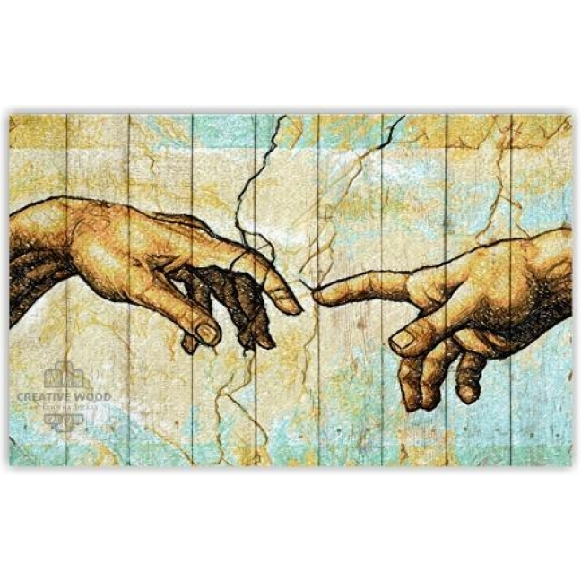 """Painting on boards Picture on the boards """"Creation of Adam - Michelangelo"""""""