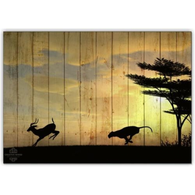 Painting on boards Africa - Hunting