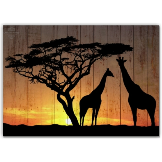 Painting on boards Africa - Giraffes