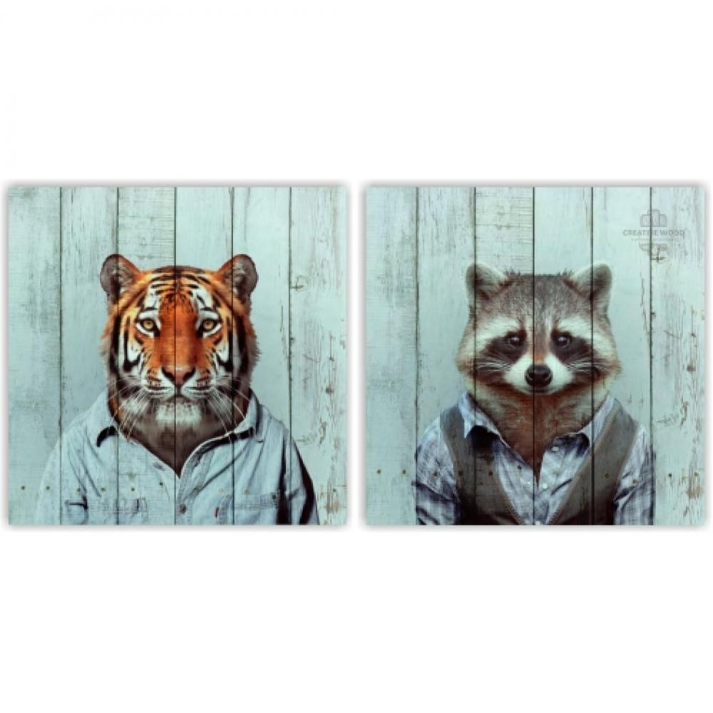 Modular pictures - Tiger and raccoon