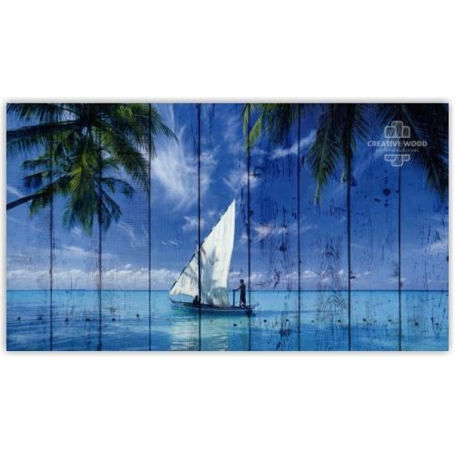 Painting on boards Sea - Sailboat