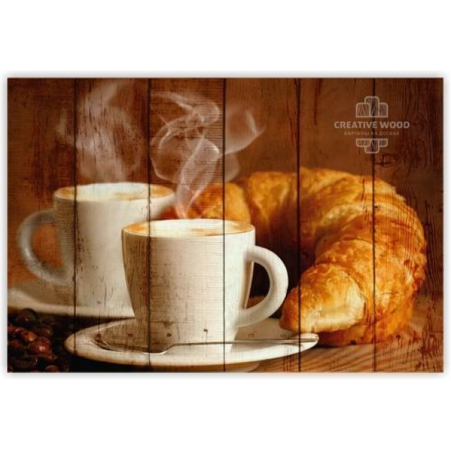 Painting on boards Sweets and spices - Croissant with coffee