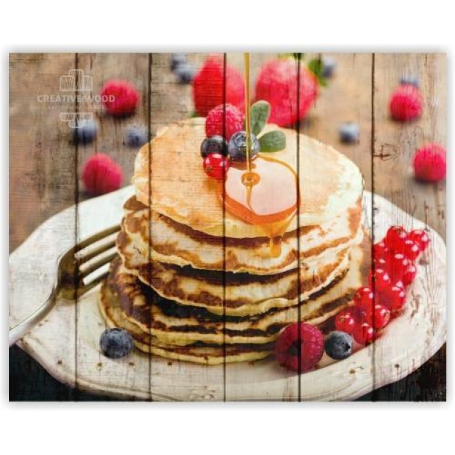Painting on boards Sweets and spices - Pancakes with berries