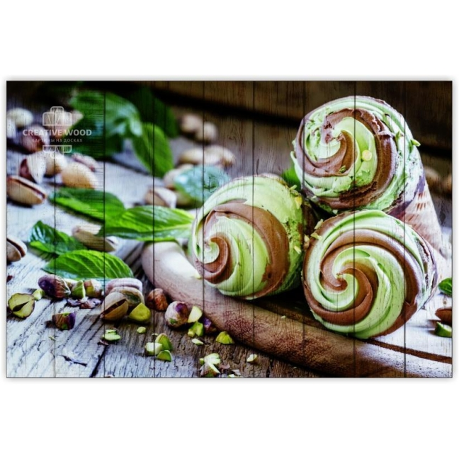 Painting on boards Sweets and spices - Pistachio ice cream