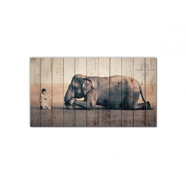 Painting on boards ZOO  — The Elephant and the Boy