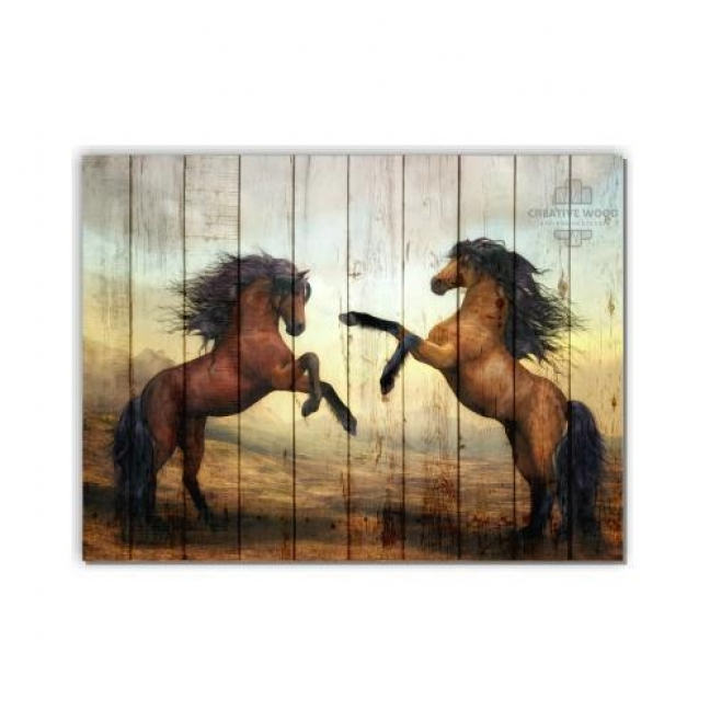 Painting on boards ZOO - Two horses