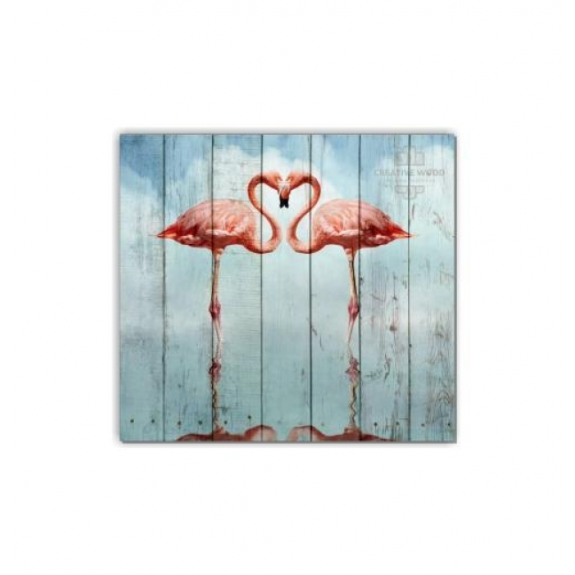 Painting on boards ZOO - Two flamingos