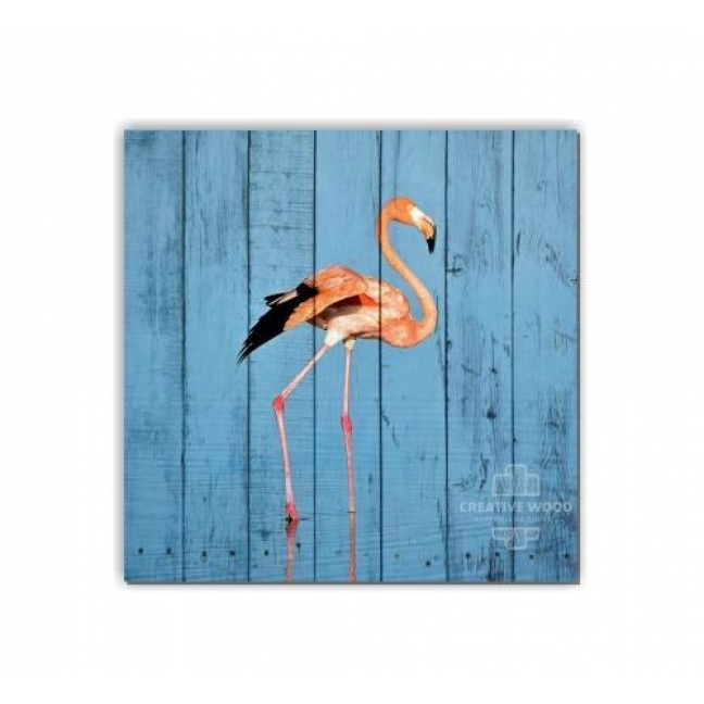 Painting on boards ZOO  — Flamingo