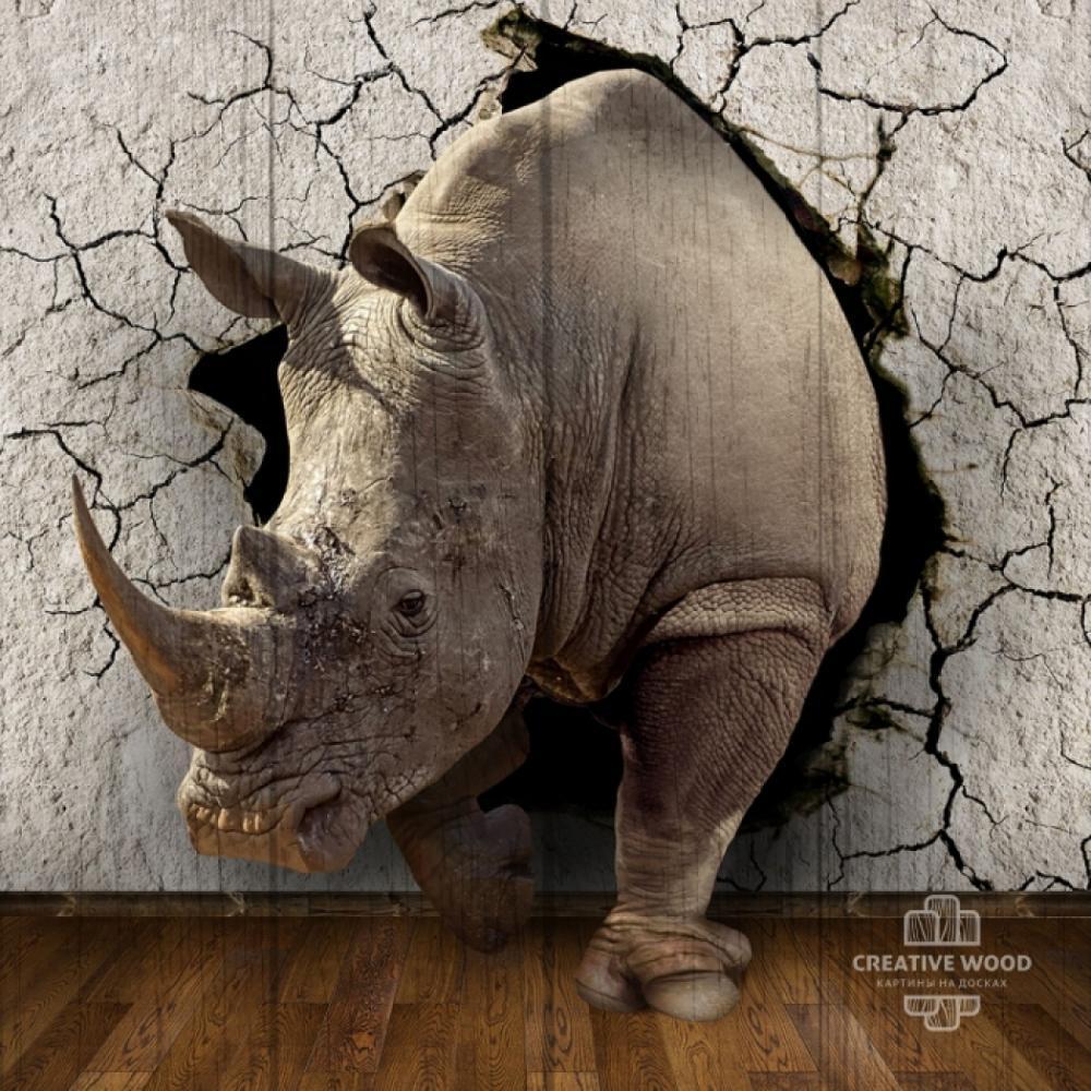 Картина на дереве   — Носорог