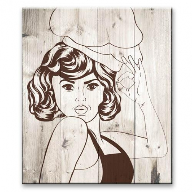 Painting on boards Pop-art  — Chef girl