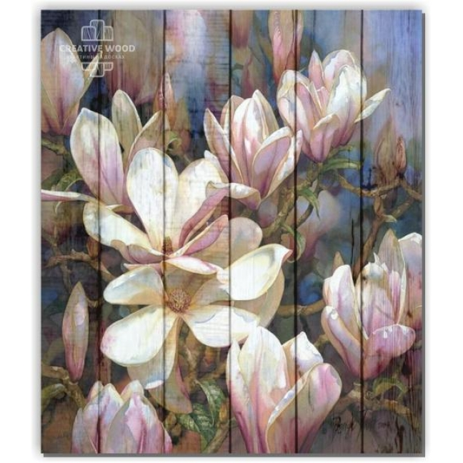 Painting on boards Flowers - Magnolia
