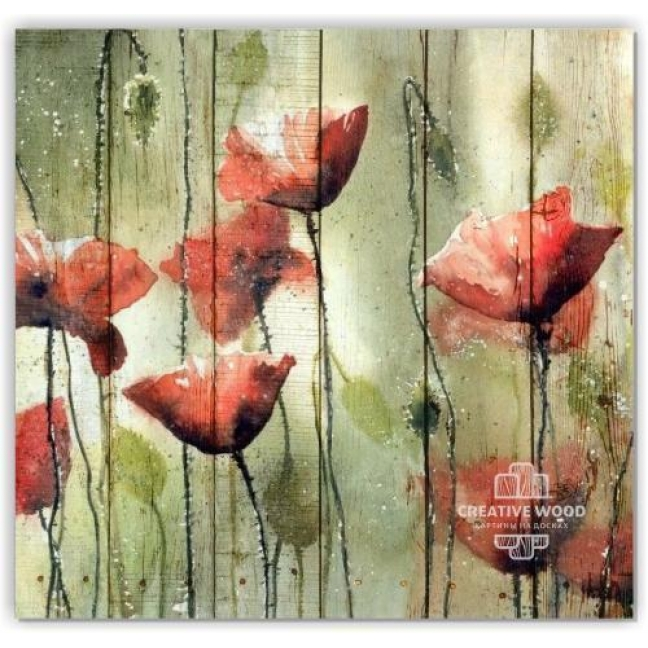 Painting on boards Flowers - Poppies