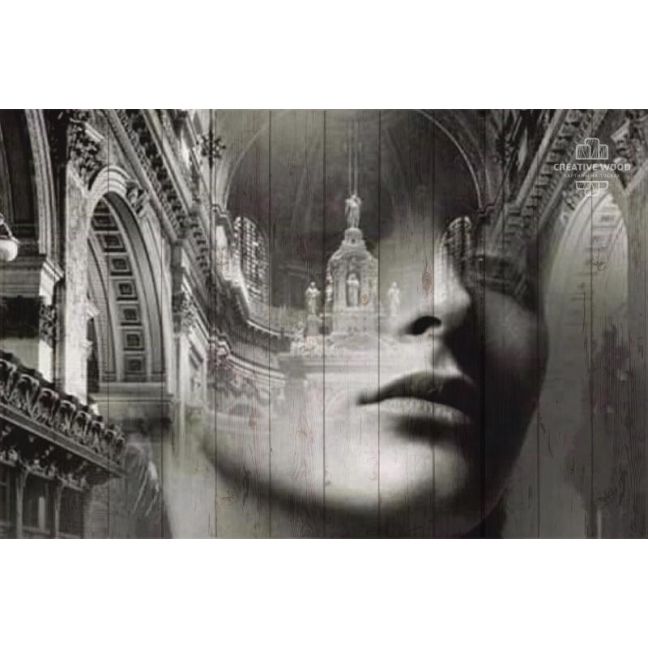 """Painting on boards Picture on the boards LOFT """"Girl double exposure"""""""