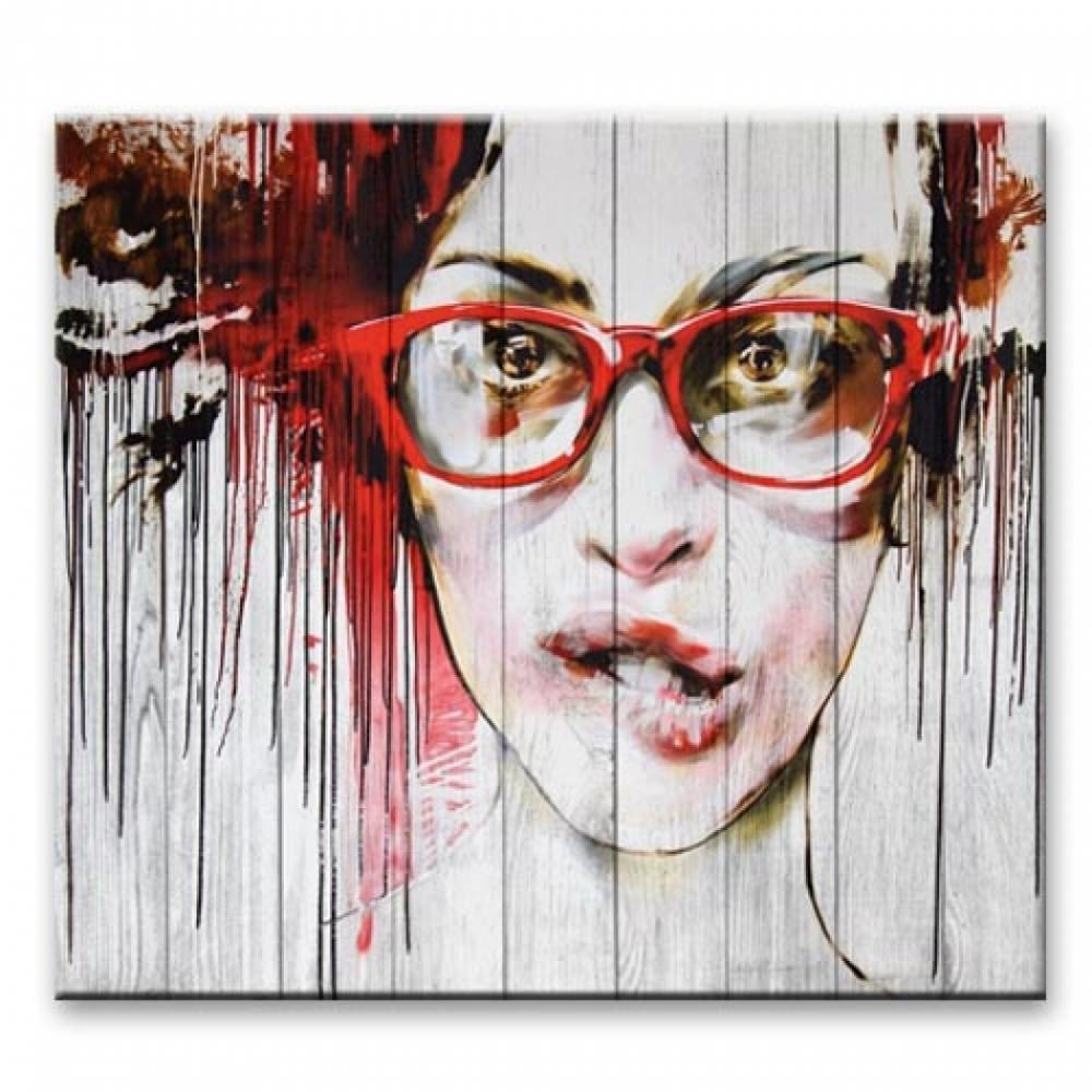 """Картина на досках в стиле Loft  """"Девушка в очках"""""""