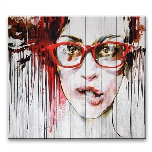 """Painting on boards Pictures on the boards Loft - """"Girl in glasses"""""""
