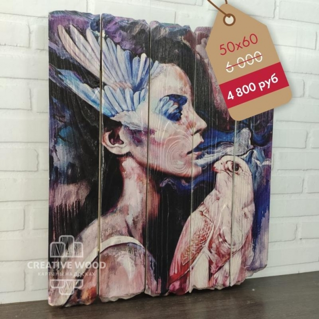 """Painting on boards Picture on the boards LOFT """"Girl art"""""""