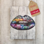 """Painting on boards Picture on the boards LOFT """"Lips art"""""""