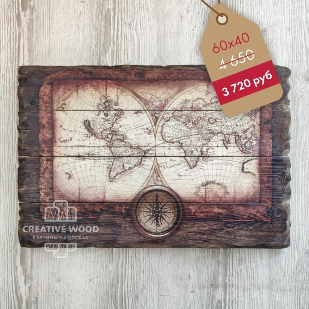 "Картина на дереве ""Карта"""